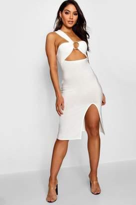 boohoo One Shoulder Ring Detail Midi Dress