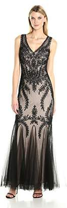 Cachet Women's Embroidered Tulle Gown
