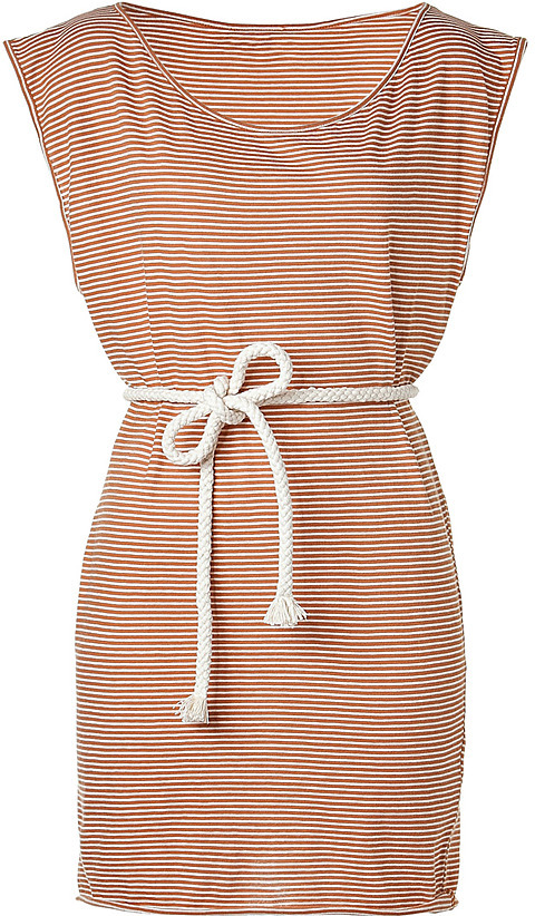 AMERICAN VINTAGE Rust/White Belted Summer Dress