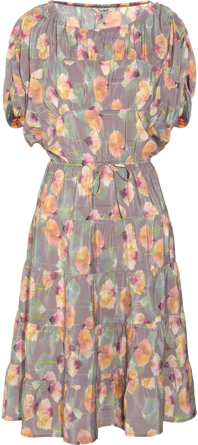 Tucker Floral-print silk dress