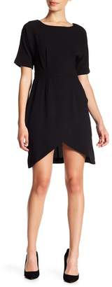 Bobeau Crepe Wrap Skirt Dress (Petite)