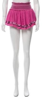 LoveShackFancy Embroidered Mini Skirt