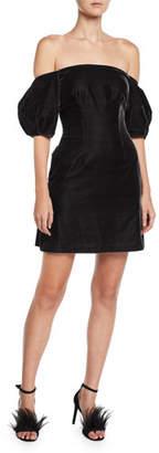 Jill Stuart Puff-Sleeve Velvet Mini Dress