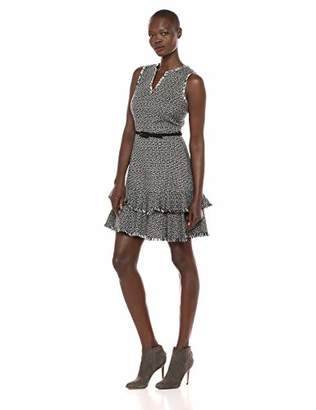 Eliza J Women's Sleeveless Ruffle Hem Tweed Dress