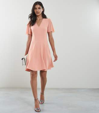 Reiss NATALIA V-NECK FIT AND FLARE DRESS Pale Pink