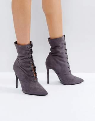 Public Desire Gray Spectrum Paperbag Lace Up Ankle Boots