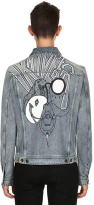 Diesel Black Gold Graffiti Printed Washed Denim Jacket