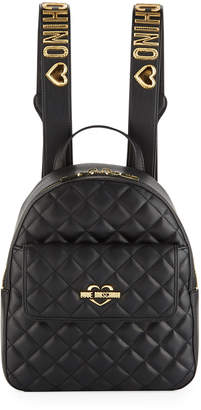Love Moschino Quilted Logo-Strap Backpack