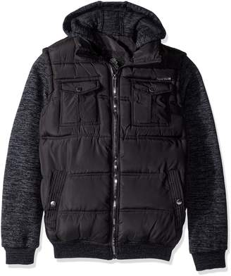 English Laundry Quilted Bomber Jacket with Sweater Fleece Sleeves and Hood