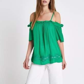 River Island Womens Green crochet hem bardot top