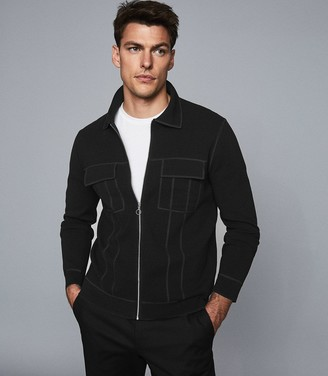 Reiss JUPITER TWIN POCKET ZIP THROUGH TOP Black