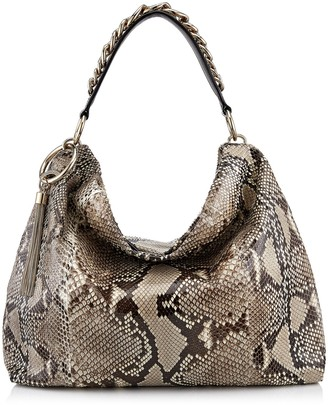 Jimmy Choo CALLIE/L Natural Python Slouchy Shoulder Bag with Gold Chain Strap