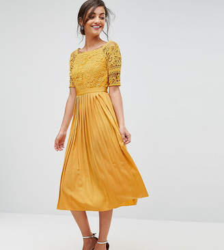 Little Mistress Tall Cutwork Lace Top Midi Skater Dress With Pleated Skirt