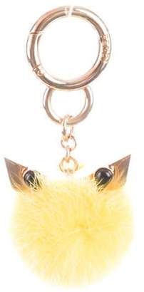 Fendi Monster Mink Fur Keychain Yellow Monster Mink Fur Keychain