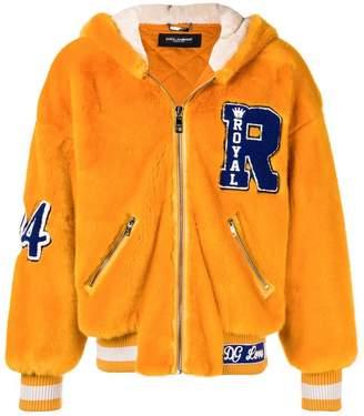 Dolce & Gabbana faux fur varsity jacket