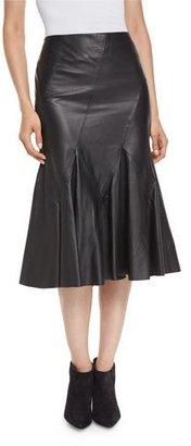 Derek Lam 10 Crosby Flared Leather Godet Midi Skirt, Black $995 thestylecure.com