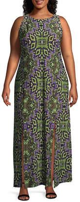 London Times Sleeveless Diamond Maxi Dress-Plus