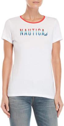 Nautica Glitter Logo Tee