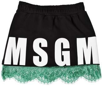 MSGM Cotton Sweat Skirt W/ Lace Hem