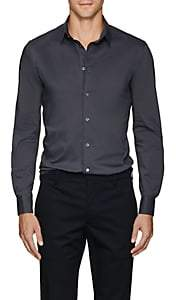 Giorgio Armani Men's Cotton-Blend Poplin Shirt - Light Gray