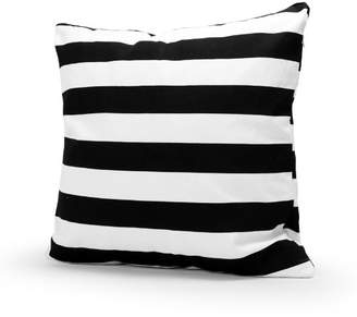 Lavievert Decorative Cotton Canvas Square Throw Pillow Cover Cushion Case Handmade Black and White Stripe Toss Pillowcase with Hidden Zipper Closure 18 X 18 Inches (For Living Room