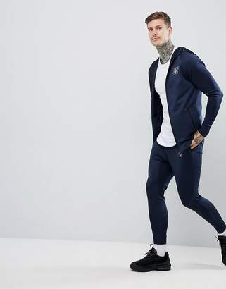 SikSilk zip through hoodie in navy