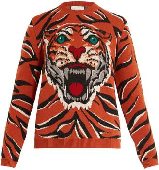 Gucci Tiger intarsia-knit wool sweater