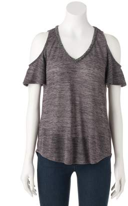 Juicy Couture Women's Embellished Cold-Shoulder Tee