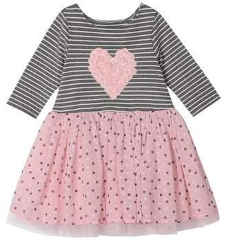 Pippa Pastourelle by and Julie Stripe Lace Heart Polka Dot Tulle Dress (Baby Girls)