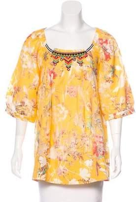 Vineet Bahl Embellished Floral Print Blouse
