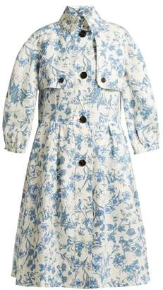 Burberry - China Floral Print Linen Coat - Womens - White Multi