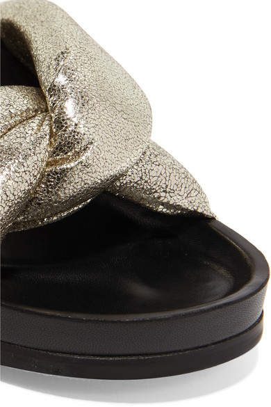 Chloé - Metallic Cracked-leather Slides - Gold 6