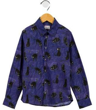 Morley Boys' Cat Printed Button-Up Shirt
