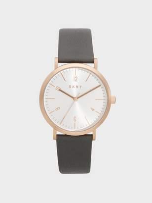 DKNY Minetta Grey Leather Rose Gold-Tone Watch Grey N/S