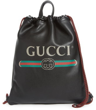 Gucci Logo Leather Drawstring Backpack