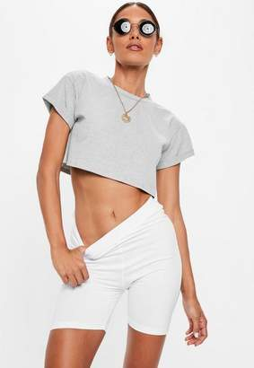 Missguided Petite Gray Roll Sleeve Crop Top