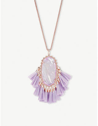 Kendra Scott Betsy 14ct rose gold-plated lilac Mother of Pearl tassel necklace