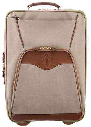 Ghurka Leather-Trimmed Woven Suitcase