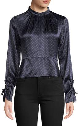 Ganni Dot-Print Cut-Out Top