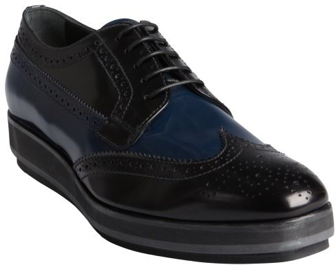 Prada black and navy patent leather tooled wingtip platform oxfords