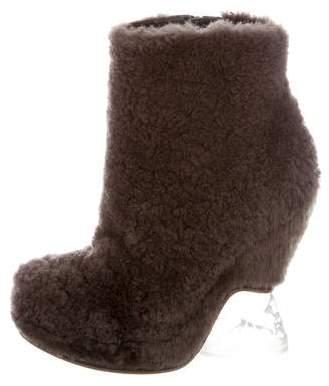 Fendi Shearling Platform Booties