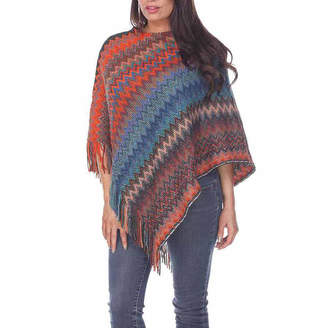WHITE MARK White Mark Womens Chevron Poncho