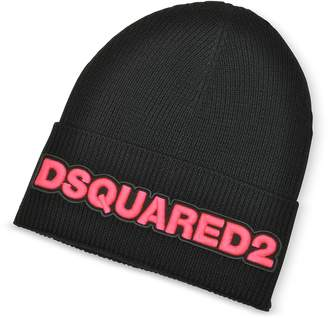 DSQUARED2 Embroidered Logo Black and Neon Pink Wool Beanie