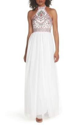 Blondie Nites Embroidered Halter Gown