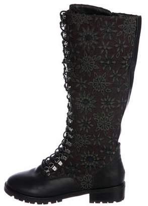 Alice + Olivia Jacquard Combat Boots