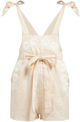 Innika Choo Floral Embroidered Linen Playsuit - Womens - Pink