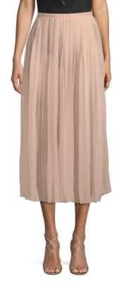 Valentino Silk Pleated Midi Skirt