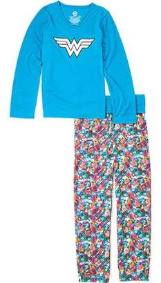 DC Girl's Wonder Woman Logo 2 Piece Yoga Pajama Sleep Set (Big Girls & Little Girls)