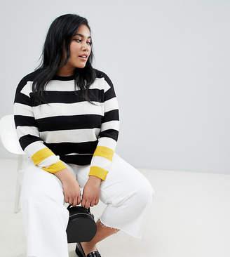 Brave Soul Plus bolt stripe sweater with contrast cuffs