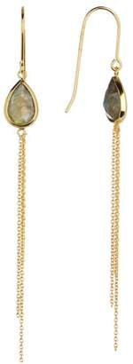 Candela 18K Yellow Gold Plated Sterling Silver Bezel Set Pear Cut Labradorite & Chain Fringe Dangle Earrings